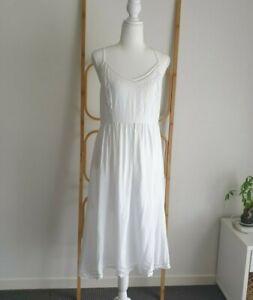 Sportsgirl White Boho Racer Back Midi Dress Size 10