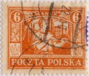 POLOGNE-POLAND-UPPER-SILESIA-1922-Mi-13-p-12-1-2-6Mk-Orange-Red-Used
