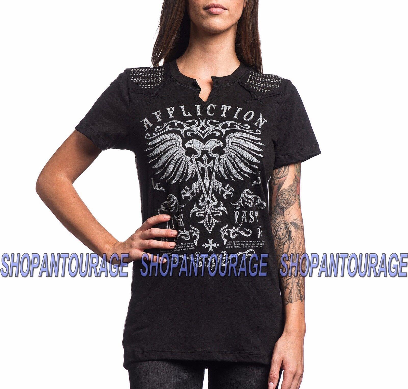 Affliction Dark Ages AW13345 damen`s New Short Sleeve Fashion schwarz Western Top