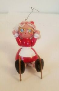 Mrs.Claus Christmas Ornament Republic of China Vintage Wooden Ice Skating