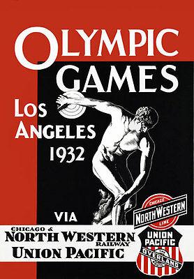 Ta35 Vintage Los Angeles 1932 Juegos Olímpicos ferrocarriles viajar Cartel volver a imprimir A4