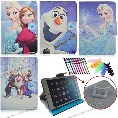 """7"""" 7inch 7.9""""Universal tablet case Cartoon Frozen Elsa Anna PU Leather cover"""