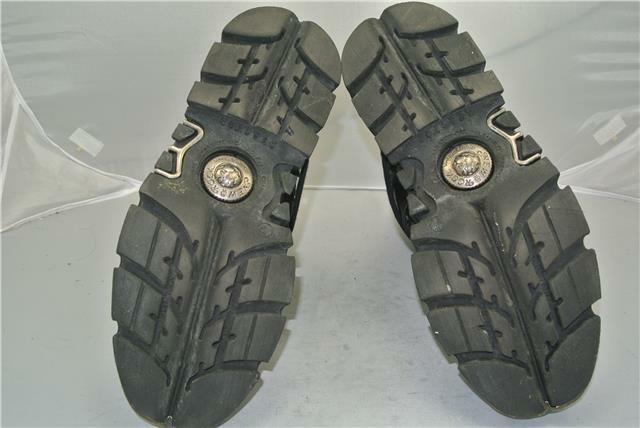 NEW ROCK REACTOR BLACK AND SILVER FLAME BOOTS 4 STRAPS STRAPS STRAPS ZIP SIZE 9 UK ab3241