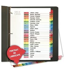TABLE OF CONTENTS NOTEBOOK RING BINDER A-Z DIVIDERS COLORED TABS MULTICOLOR TABS