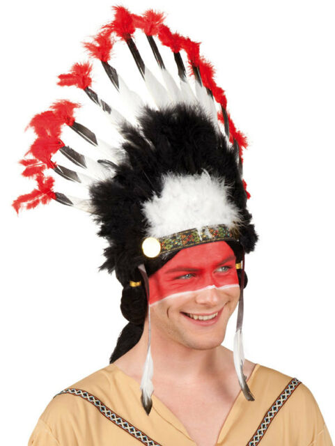 Adult Indian Mohawk Native American Fancy Dress Costume Tall Feather Headdress  sc 1 st  eBay & Adult Indian Mohawk Native American Fancy Dress Costume Tall Feather ...