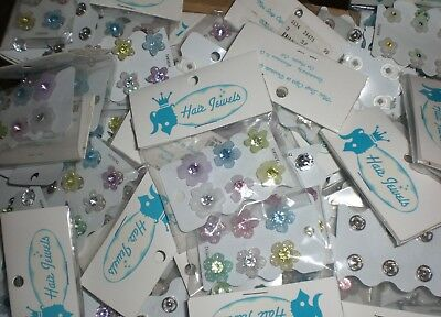 Hair Jewelry Clips Claws Buttons Bobby Pins Snaps Flowers Purple Pink 72 Total