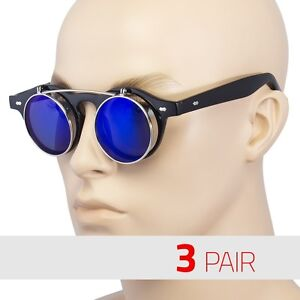 3-Pair-Cool-Flip-Up-Lens-Steampunk-Vintage-Retro-Round-Sunglasses-Black-Blue-US