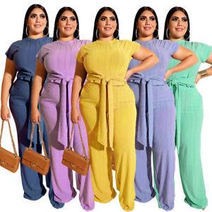 Details about Womens Plus Size Dresses Short Sleeve Tops Pants 2PCS Set  Casual T Shirt Costume