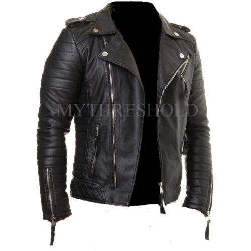 Biker Lambskin Fit Jacket Leather Slim Black Mens Genuine Motorcycle qgR6w86z