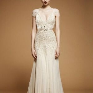 Jenny-Packham-Wedding-Dress-Gown-Willow-Ivory-Size-8-Embellished