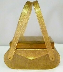 Gold-Sparkle-Lucite-Box-Purse-with-Vanity-Case-Above-the-Lid