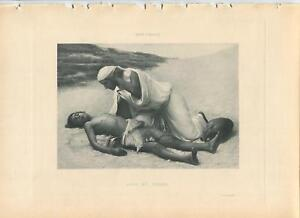 ANTIQUE HAGAR ISHMAEL DESERT WATER BIBLE STORY MOTHER SON SORROW MOURNING PRINT
