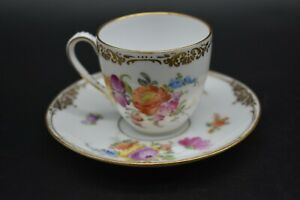 Franziska-Hirsch-Dresden-German-Hand-Painted-Flowers-amp-Gold-Tea-Cup-amp-Saucer-Set