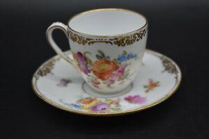 Franziska-Hirsch-Dresden-German-Hand-Painted-Flowers-amp-Gold-Tea-Cup-amp-Saucer-Set