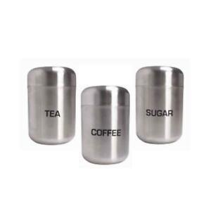 En-acier-brosse-the-cafe-sucre-Canister-Set-3-Piece-De-Rangement-Cuisine-Tin-Set-Nouveau