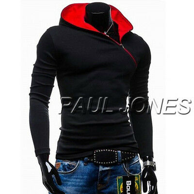 NEW Fashion Pull Sweat Homme Capuche Hiver Veste Hauts Manches Slim Hoodie Tops