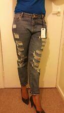 miss selfridge Esther Slim Fit Ripped Frayed Boyfriend Jeans Uk Size 12