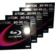 5-Pack TDK Rewritable Blu-ray Disc BD-RE75A,8cm,7.5GB,Camera,for BD Video Camera