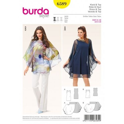 Burda Style Misses Tank Top Vest Dress and Cover Up Sewing Pattern 6589