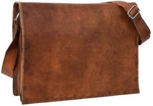 Men-039-s-Vintage-Brown-Indian-Leather-Messenger-Shoulder-Laptop-Briefcase-Bag-NEW