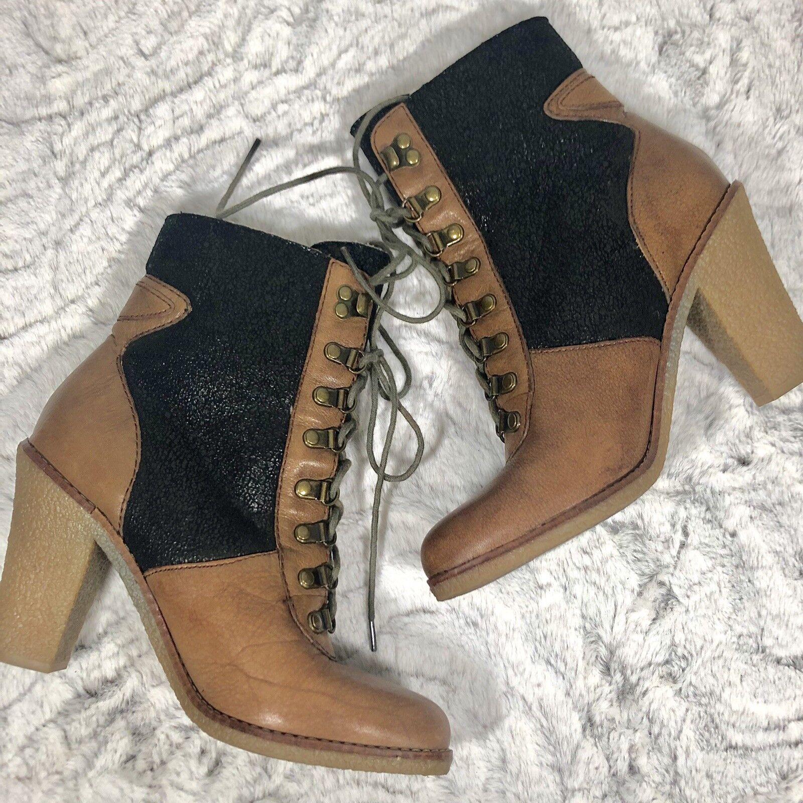 Sam Edelman Tara dos tonos de piel de imitación de cuero con cordones tacón alto botas tamaño 8.5 M (H16)