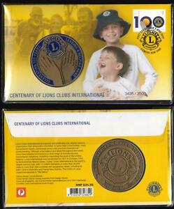 Ltd-Ed-3435-3500-LIONS-CLUB-INTERNATIONAL-PNC-BEAUTIFUL-LARGE-MEDALLION-amp-STAMP