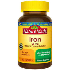 Nature Made Iron 65 mg - 365 Tablets Dietary Supplement EXP 05/2024!