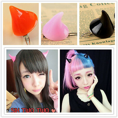 Hot 1 Pc Stereo Devil Horn Ear Clip Double Hairpin Halloween Cosplay Costume