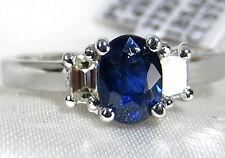 Blue Sapphire Ring 3 Stone style 14K White Gold VS Diamond 1.39ct CERT. $3,924