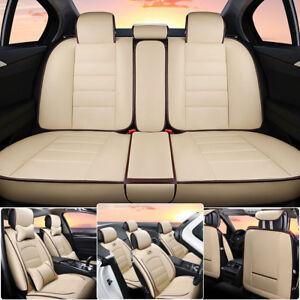 Universal-PU-Leder-Auto-Sitzbezuege-5-Sitz-Autoauflage-Schonbezug-Beige-DE-Stock