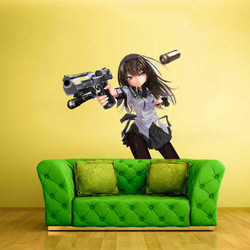 Col374 Full Color Wall Decal Sticker Anime Manga Girl Gun Weapon Piece Comics