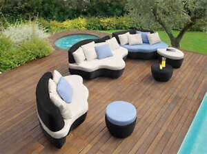 Divano salotto rattan nero design moderno arredo giardino for Arredo giardino rattan offerte