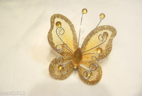 BNGGB13 H Gold 5 x Glitter Organza//Gauze Butterflies