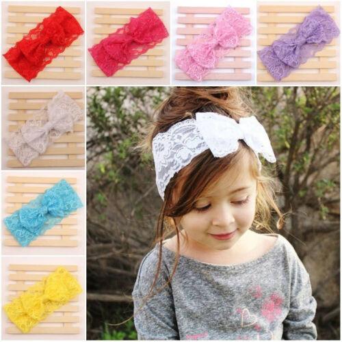 7Stk Baby Kinder Stirnband SPITZE Schleife Haarband Mädchen Kopfband Haarschmuck