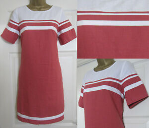 NEW-Next-Shift-Tunic-Dress-Coral-White-Block-Striped-Linen-Blend-Summer-Sun-8-18