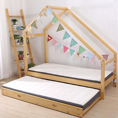 Double Children Floor Bed Frame Toddler Premium Wood Kids ...