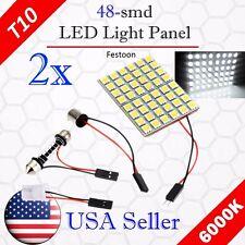 2 x Festoon T10 BA9S 48-SMD Panel Dome Map Interior LED Light Bulbs 12V - White