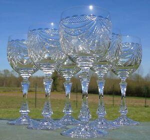 Service-de-6-verres-a-vin-en-cristal-artisanat-de-Lorraine-decor-de-draperie