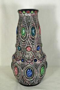 Large-Art-Deco-Era-Amphora-Art-Pottery-Jeweled-Vase-Czecho-Slovakia-1920s