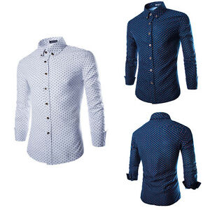 Luxury-Men-039-s-Shirt-Tops-Slim-Fit-Shirt-Long-Sleeve-Shirts-Casual-Dress