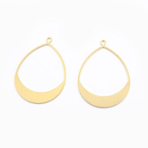 10Pcs Raw Brass Open Water//Tear Drop Charms Pendant DIY Jewelry Earring Findings