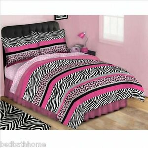 Pink jungle queen bed in a bag complete comforter set twin or full