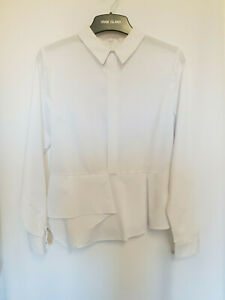 River-Island-Women-039-s-White-Long-Sleeve-Point-Collar-Blouse-Top-Size-12-18