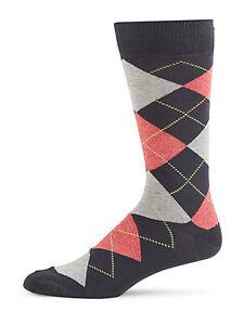 Saks-Fifth-Avenue-Argyle-Cotton-Blend-Men-039-s-Socks-10-13-NWT-Charcoal-Salmon