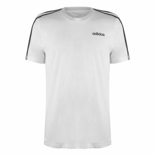 adidas Herren 3 Stripe T Shirt Top Kurzarm Rundhals Freizeit Bequem Sitzend