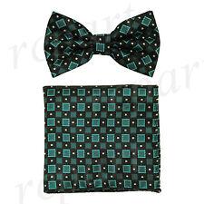 Men's Pre-tied Bow Tie & hankie set checker pattern black green formal prom