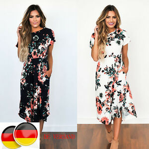 frauen tasche damenkleider sommer maxi abend partykleider cocktailkleid kurzarm. Black Bedroom Furniture Sets. Home Design Ideas