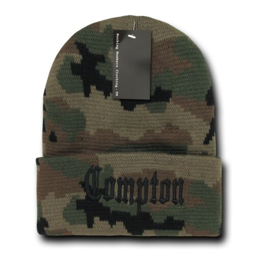 Camo /& Black Compton Vintage Embroidered Hip Hop Cuffed Beanie Beanies Hat Hats