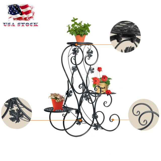 1f2bed1030ad 3 TIER Home Floor-Standing Wrought Iron Pot Plant Stand Flower Planter S- Design