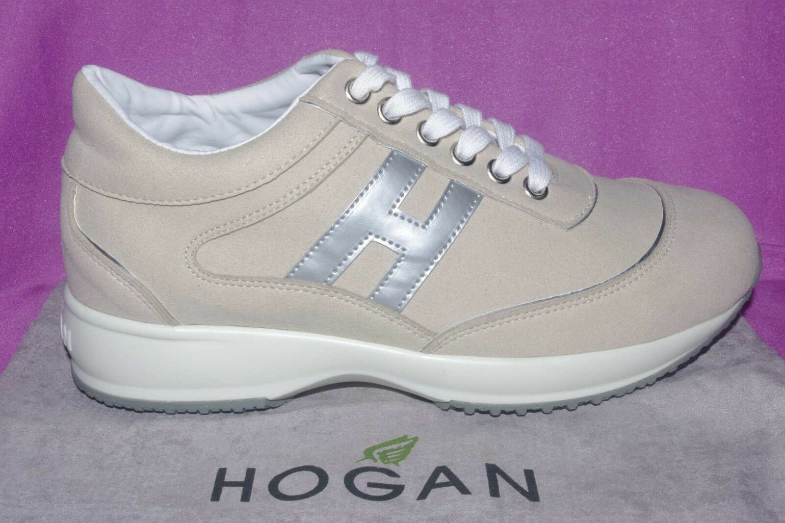 scarpe shoes donna hogan sneakers interactive beige argento nuove 36